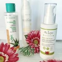3 Detergenti viso: Bioearth, MaterNatura e Lepo.